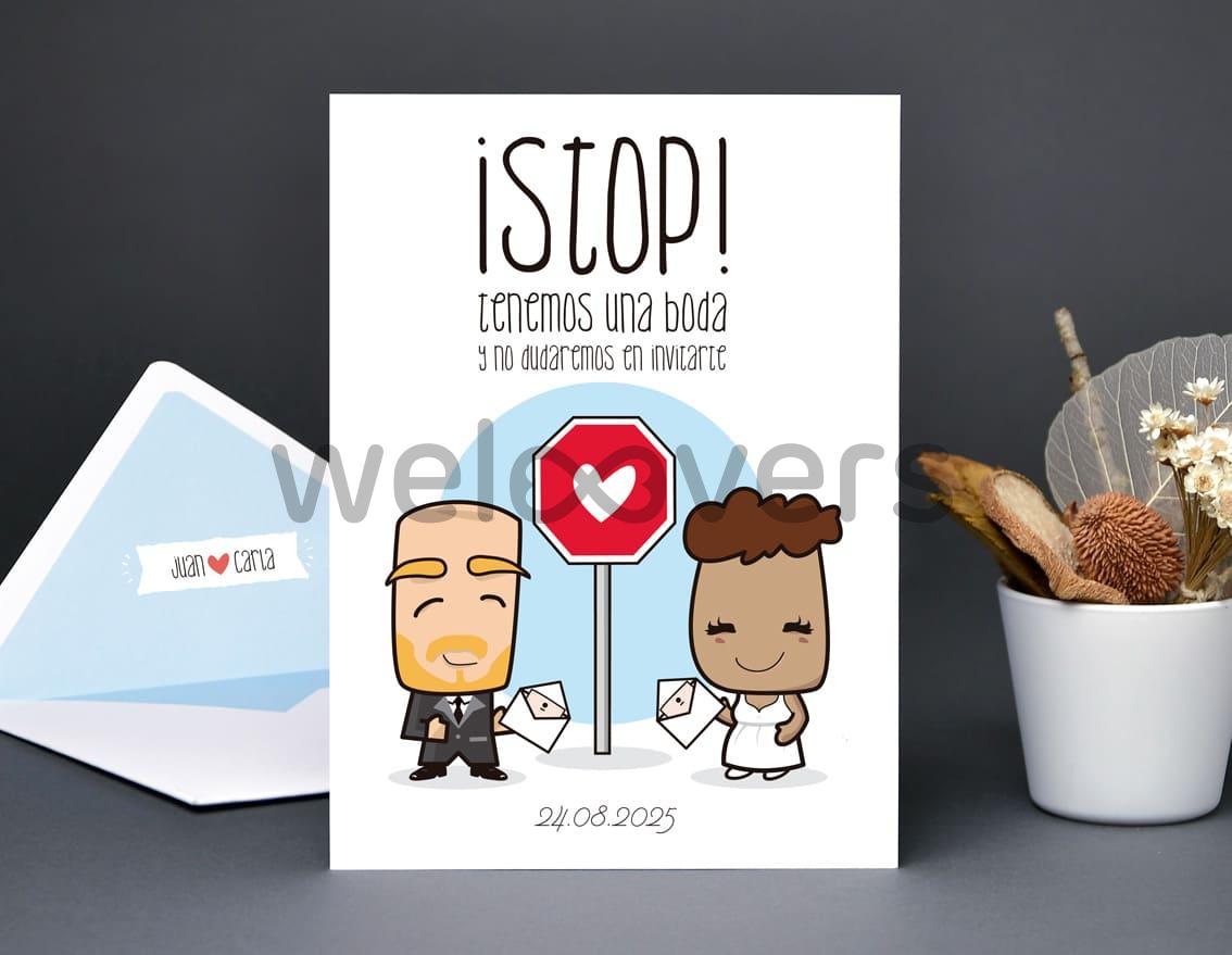 """Invitación de boda """"STOP TENEMOS UNA BODA Y NO DUDAREMOS EN INVITARTE"""""""