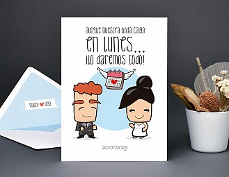 """Invitación de boda """"DI ADIÓS A LAS REGLAS, LA BODA VA A SER UN DESMADRE """""""