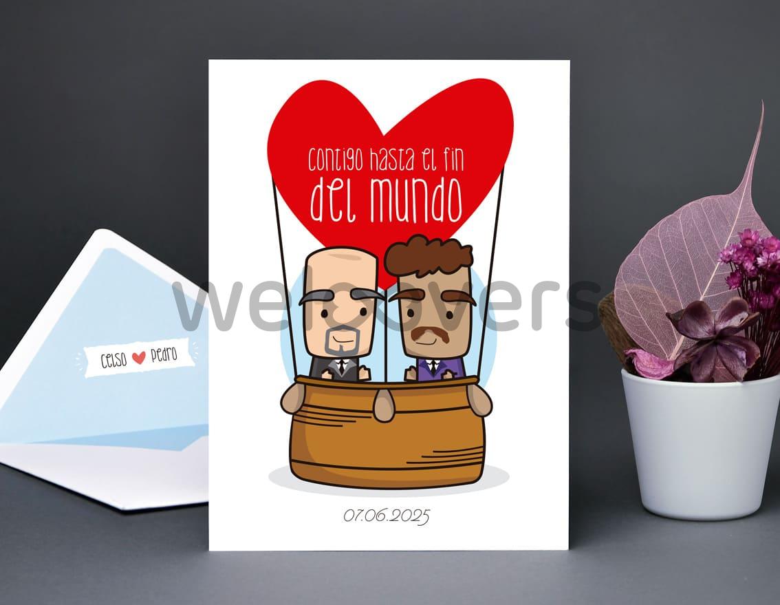 """Invitación de boda """"CONTIGO HASTA EL FIN DEL MUNDO"""""""