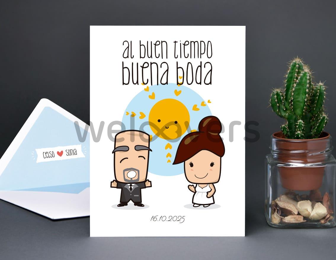 """Invitación de boda """"AL BUEN TIEMPO BUENA BODA"""""""