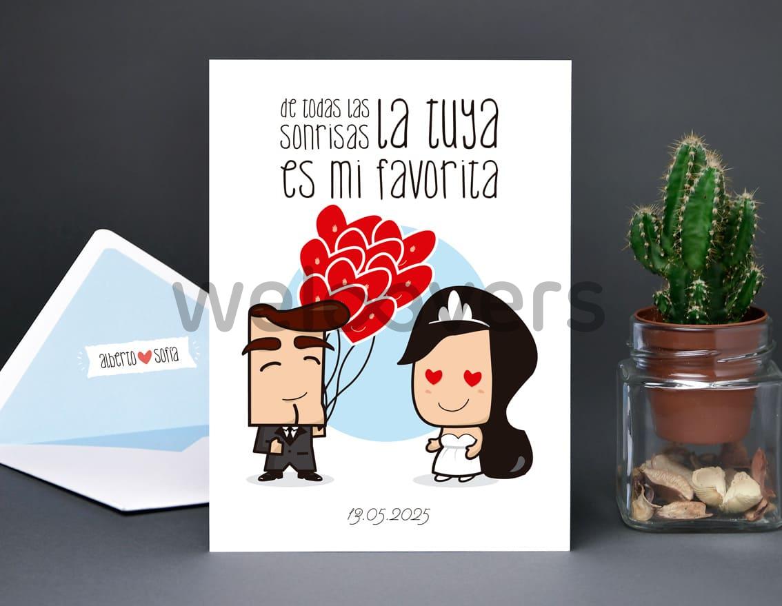 """Invitación de boda """"DE TODAS LAS SONRISAS LA TUYA ES MI FAVORITA"""""""