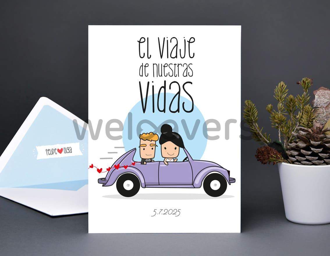 """Invitación de boda """"EL VIAJE DE NUESTRAS VIDAS"""""""