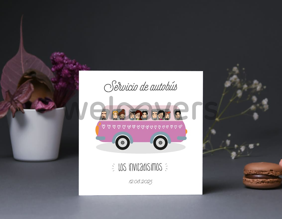 "Tarjeta bus boda ""DI ADIÓS A LAS REGLAS, LA BODA VA A SER UN DESMADRE """