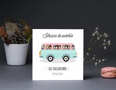 """Tarjeta bus boda """"EN NUESTRA BODA BARRA LIBRE DE AMOR"""""""