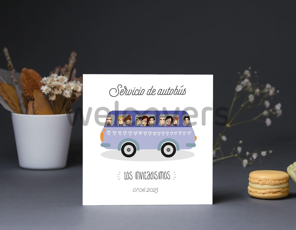 """Tarjeta bus boda """"CONTIGO HASTA EL FIN DEL MUNDO"""""""
