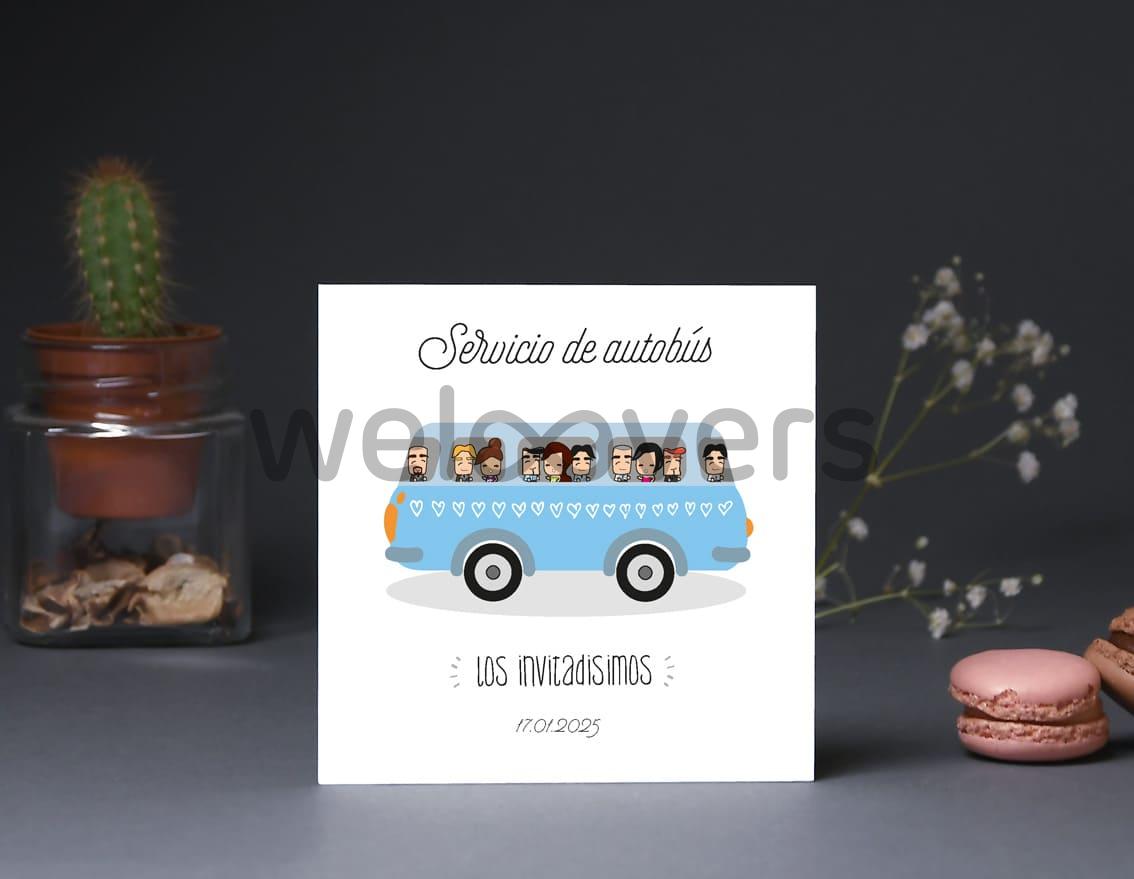 """Tarjeta bus boda """"A CASARSE A BAILARSE Y A DESATARSE"""""""