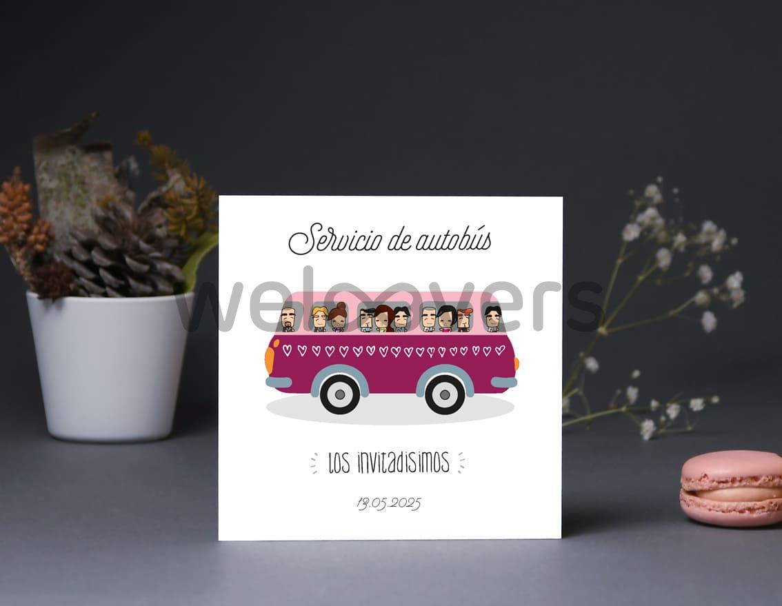 """Tarjeta bus boda """"DE TODAS LAS SONRISAS LA TUYA ES MI FAVORITA"""""""