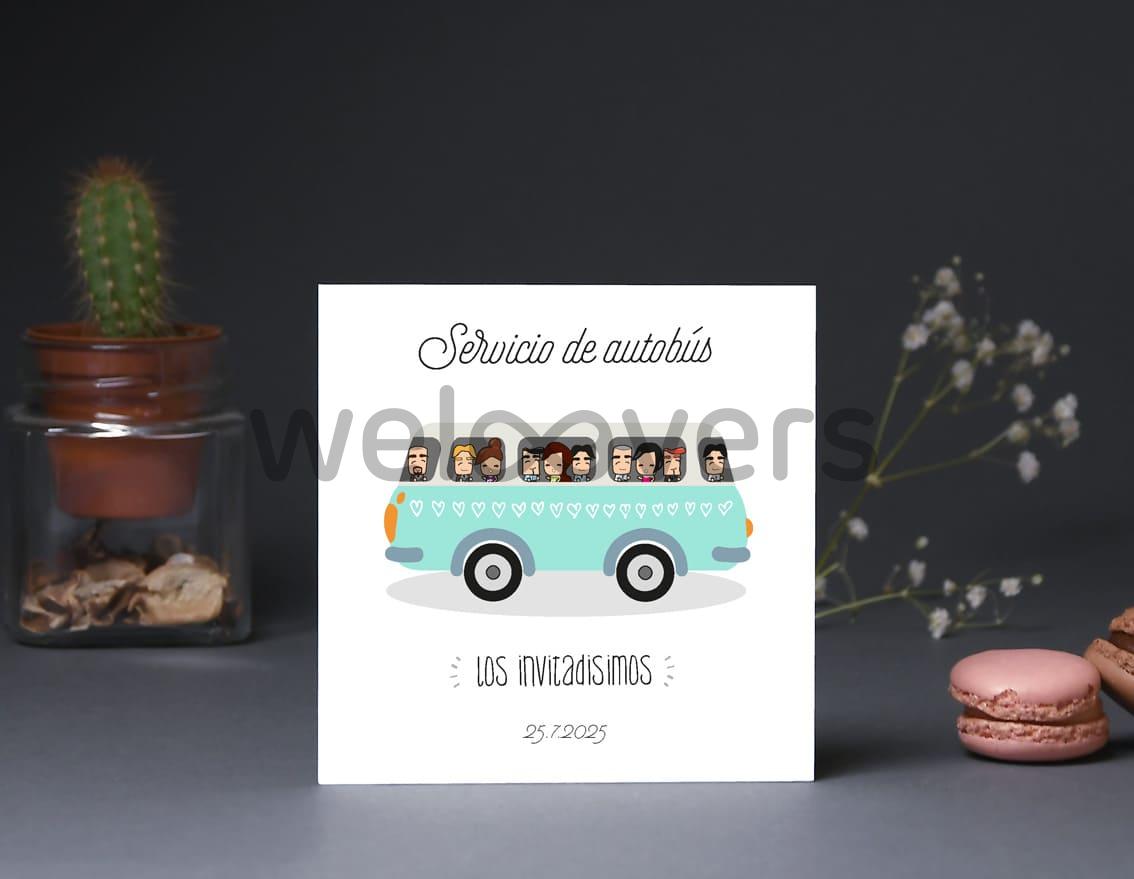 """Tarjeta bus boda """"SI NO LO DECIMOS REVENTAMOS ¡NOS AMAMOS!"""""""