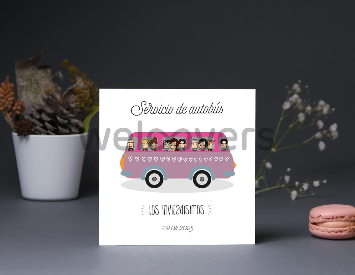 """Tarjeta bus boda """"NUESTRO AMOR ESTÁ A TOPE"""""""