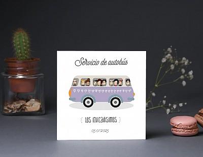 """Tarjeta bus boda """"EL VIAJE DE NUESTRAS VIDAS"""""""