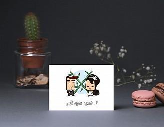 """Tarjeta agradecimiento boda """"A CASARSE A BAILARSE Y A DESATARSE"""""""